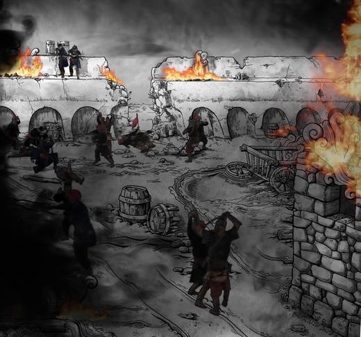 A rajzolt hátteret digitális füst és tűz effektek egészítik ki,  valós karaktere csatáznak.
